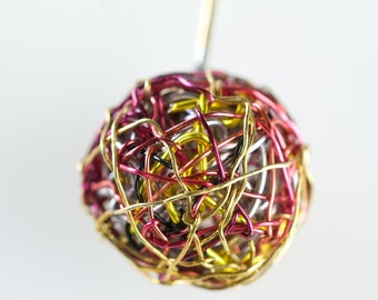Red gold brooch pin Geometric jewelrry Wire wrapped jewelry Minimalist jewelry Simple jewelry Ball jewelry Unique gift for women Colorrful