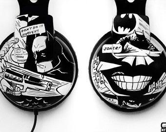 Batman Joker headphones gift boyfriend customized geek birthday gift for her gift for him men women sound black and white comic earphones