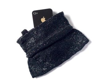 Black beaded clutch, jet black glass bead purse, vintage evening clutch bag