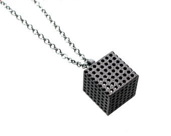 3D printed minimalist pendant necklace - Perforated Cube Pendant in Dark Steel. modern industrial jewelry. Sale
