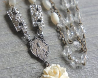 Purity-Vintage assemblage necklace rose necklace mop beads rosary beads cream rose assemblage jewelry F568-by French Feather Designs