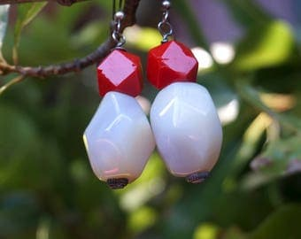 Blue Agate and Red Glass Earrings