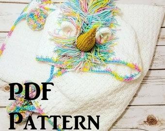 Hooded Unicorn Crochet Blanket Pattern, PDF Download Pattern, Handmade Blanket Pattern, DIY