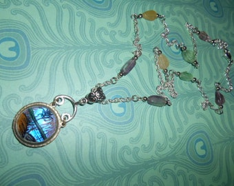 Lovely Morpho Butterfly Art Pendant on Crystal Florite Chain- Treasure Relic Necklace