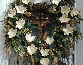 Easter Cross Wreath Elegant Rustic Religious Wood Metal Cream Latex Magnolias Large Hanging Grapevine Floral Decoration Front Door Wreath