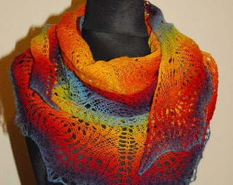 Rainbow Scarf, Rainbow Shawl, Triangle Shawl, Knit Shawl, Hand Knit Rainbow Scarf, Knit Rainbow Shawl, Made to order