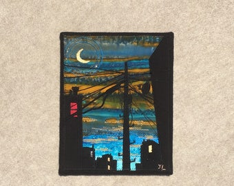 Crescent Moon Dusk, 8x10  inch canvas, sewn fabric art, sewn on a 1968 Singer, all recycled fabrics, ready to hang canvas