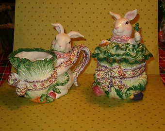 Fitzy Rabbits Cream & Sugar, Dimensional, Ceramic, Large Size, Easter Fun, Party Fun, Simply Gorgeous!