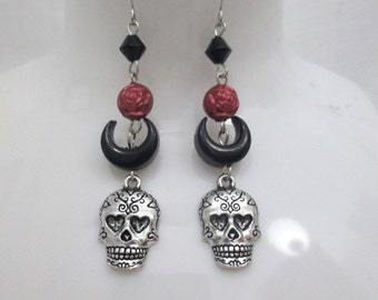 Sugar Skull Gothic Beaded Dangle Earrings with Crescent Moon and Rose Beads