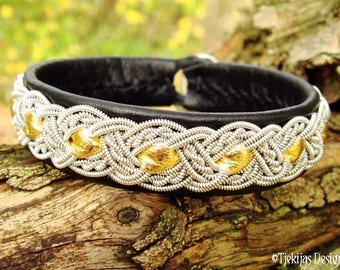 Viking Norse Bracelet Cuff in Black and Gold Reindeer Leather with Pewter braid ALFHEIM Custom Handmade Sami Bracelet