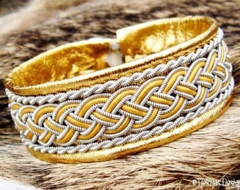 Nordic Viking Gold Leather Cuff | GIMLE Swedish Sami Bracelet in Silksoft Reindeer or Lambskin