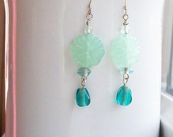Green Teal Earrings Jade Flower Bead Drop Earrings in Sterling Silver