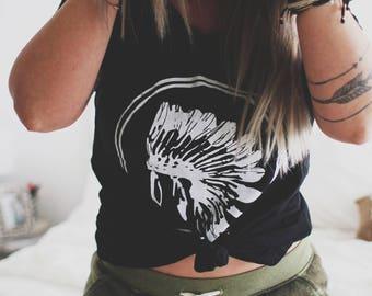 Always A Warrior Headdress Tee,  Off shoulder shirt, Customizable Shirt, Teen Girl shirt, Boho Shirt, Bohemian Shirt, Gypsy Shirt