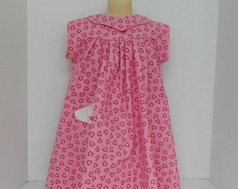 Girls' Pink Dress - Girls' Spring Clothes - Pink and Red Toddler Dress - Size 3 Toddler - Valentines Day - Pink and Red Hearts - OOAK Dress