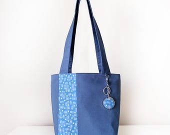 Women's Tote Bag  with Handbag Hook / Shoulder Bag / featuring Zip Closure and Internal Pockets in Blue