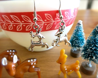 Prancing Reindeer Charm Earrings or Necklace-Silver Stag Pendant-Silver Chain-Miniature Deer-Festive, Winter Jewelry-Santa-Christmas Fashion