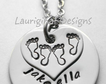 Twin necklace - Twins necklace - hand stamped - stainless steel