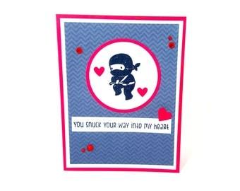Ninja Card, Ninja Love Card, Snuck Your Way Card, Ninja Greeting Card, Shinobi Card, Black Ninja, Ninja Lover, Cute Ninja Card, Ninjas Card