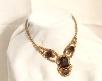 Vintage Chocolate and Honey Rhinestone Necklace