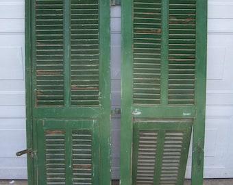 shutters,mediterranean Shutter window,Antique Wooden Architectural,rustic old shutters,salvage,Wall Decor Piece,chippy green,mediterranean,4