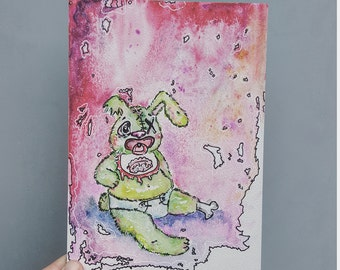 Zombie bunny, mixed media painting, original art, watercolor board, kawaii zombie, creepy cute, weird nursery print, weird small painting