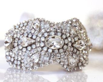 Opal Crystal Bracelet, Opal Bridal Cuff, Bridal Jewelry, Statement Bracelet, Opal Bridal Cuff, Wedding Jewelry, Crystal Cuff Hollywood Style