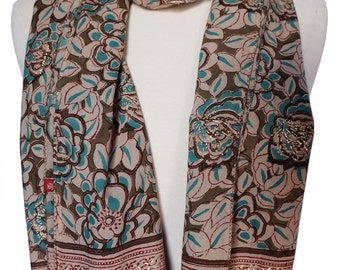 "Hand Block Printed Scarf - Deco Flower  - 15.5"" x 70"" - 100% cotton"