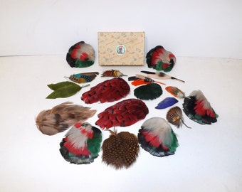 Vintage collection of millinery hat real feathers plume milliners feather decoration brooch X18