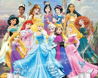 Personalize Kids Poster, Disney Princess Poster, All Princesses Wall Art