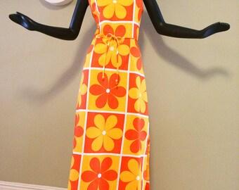 Size Large Vintage MOD Maxi Dress Flower Power 1960s 1970s Hippie Hawaiian Tiki Oasis Hukilau Dress 60s 70s Bright Orange Geometric Flowers