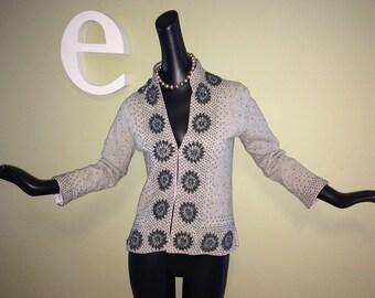 "Vintage 50s 60s ""Atomic Starburst"" Beaded Sweater 1950s Rockabilly Asian Heather Gray Wool Cardigan Mandarin Collar Fully Lined Size Medium"