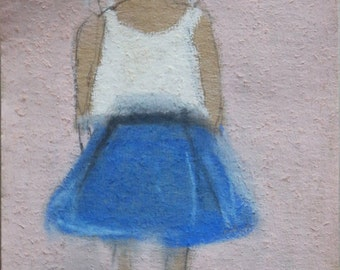 Pastel Drawing of a Girl -- Little summer girl -- Original Pastel and Watercolor Drawing on delicate paper -- Small format original fine art