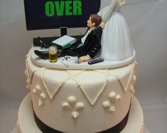 GAME OVER (or any game/image) Funny Wedding Cake Topper Custom Video Game Gaming Junkie Addict Rehearsal Gamer Groom's Bride Veil XBOX Beer