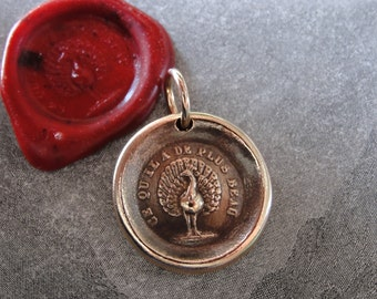 Peacock Wax Seal Charm The Most Beautiful wax seal jewelry pendant antique French motto Beauty Power Knowledge by RQP Studio