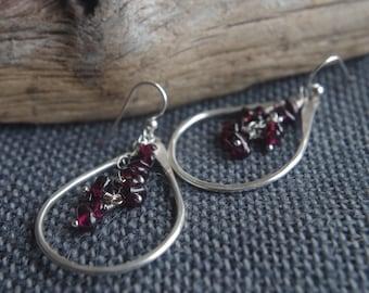 Garnet Rain - Large Fine Silver earrings - Hand forged Silver dangles with cascading Garnet gemstones