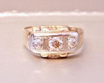 Antique Victorian Old Euro Diamond, 10K Gold, Wedding Ring, Engagement Ring