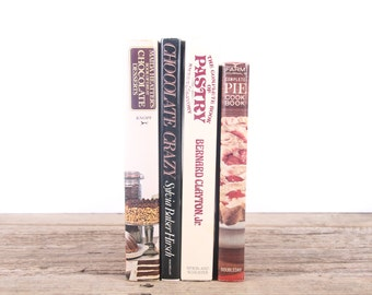 Vintage Dessert Cookbooks / Old Books Vintage Books / Kitchen Decorative Books / Vintage Mixed Book Set / Books by Color / Books for Decor