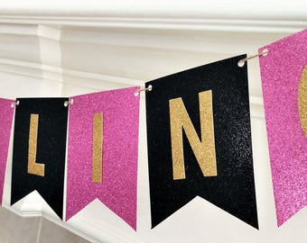Bachelorette Party Banner, Last Fling Banner, Pink and Gold Banner, Pennant Banner, Gold Glitter, printed and assembled