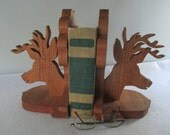 Bookends, Vintage Wooden Deer Head Silhouette 6 Point Buck Cabin Lodge Hunting Decor Man Cave Primitive Rustic