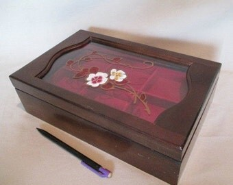 Jewelry Box, Vintage Painted Glass Top, Removable Tray, Red Lining, Wooden Trinket Storage Keepsake