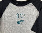 I Love Lego. I Heart Lego. Lego Shirt. Kids Raglan T-Shirt. Kid Shirts. Children's T-Shirt. Girls And Boys Shirts From Toddler To Age 12