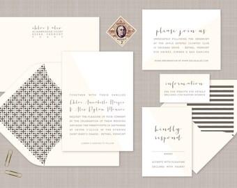 Modern Typographic Wedding Invitation. Neutral Wedding Stationery. Flat Print Wedding Invites in Neutral Tones. Modern Wedding Stationery.