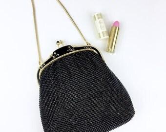 Whiting and Davis Black Mesh Enamel Evening Bag Purse Handbag 2987