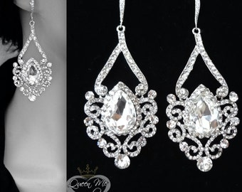 Crystal chandelier earrings ~ Long ~ Sterling silver ear wires ~ Art Deco crystal earrings ~ Swirl design ~ Brides earrings~Wedding earrings