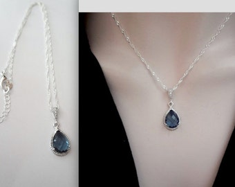 Sapphire blue necklace - Sterlings Silver necklace - Bridal Jewelry - Septembers Birthstone - Bridesmaids necklace -Gift - Something blue