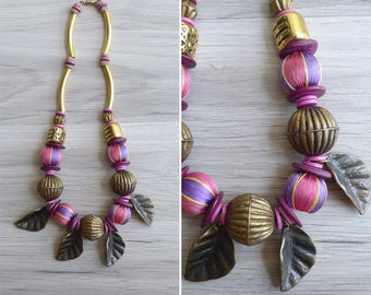 Vintage 80's Bohemian Beads Leaf Charm Statement Necklace
