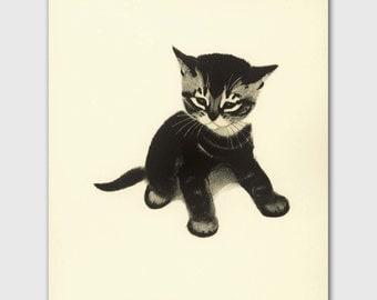 Cat Wall Art, Cat Print (Girl Nursery Wall Art, Vintage Childrens Book Art) --- Tabby Kitten