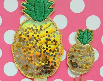 Glitter shaker pineapple holographic vinyl planner band & paperclip, Gold holographic pineapple bookmark, VInyl pineapple planner asseccory