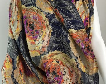 Large piece of 1930's Floral Lame Fabric