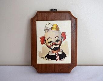 salvation armani vintage clown art print - crying hobo clown - thayer vintage clown art - wood wall hanging - crying clown - circus/hobo
